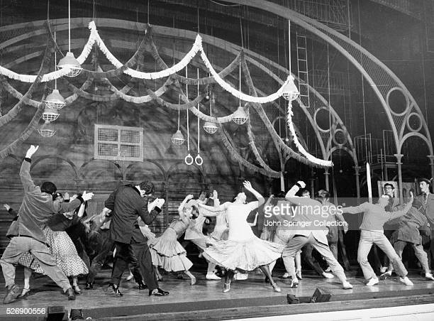 Theater still from the 1957 Broadway production of West Side Story directed by Jerome Robbins This scene shows the high school dance