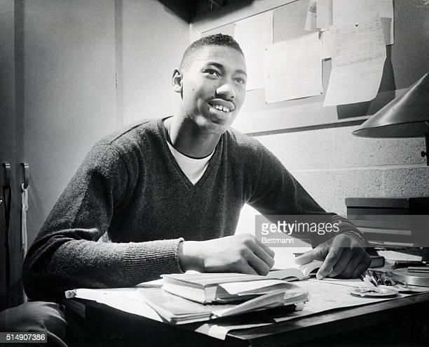 1957Wilt Chamberlain attending Kansas University in his room in college
