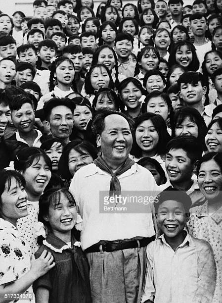 1959Smiling Chairman Mao TseTung standing in the middle of teachers and students of the Shaoshan School in 1959 Filed 8/19/1976