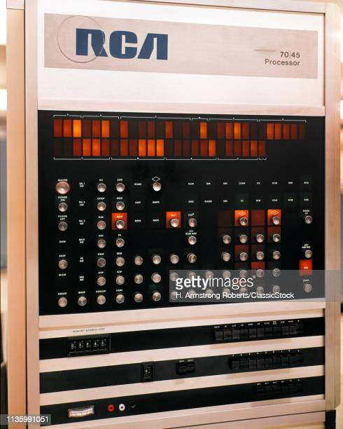 1960s 1970s DETAIL OF CONTROL PANEL ON RCA 70 45 PROCESSOR ELECTRONIC DATA PROCESSING EDP EQUIPMENT