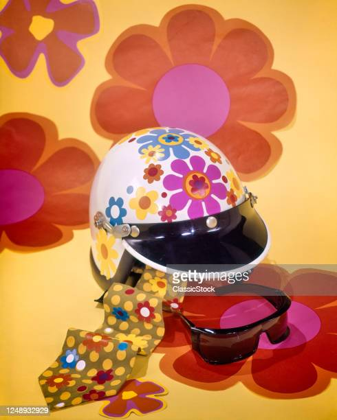 1960s 1970s Motorcycle Motor Scooter Sports Car Driving Safety Helmet Sunglasses Polka Dot Necktie All With Flower Power Decals