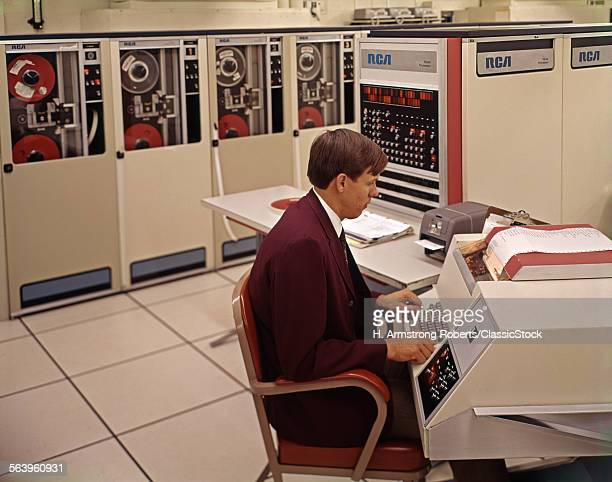 1960s 1970s RCA COMPUTER SYTEM MAINFRAME MAN SITTING PRINTER