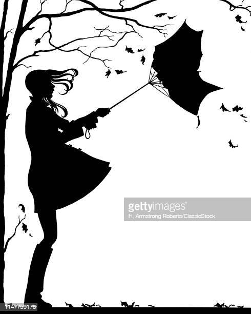 1960s 1970s TEEN GIRL WITH FLYING HAIR UMBRELLA TURNED INSIDE OUT RAINY VERY WINDY AUTUMN DAY SYMBOLIC SILHOUETTE ILLUSTRATION
