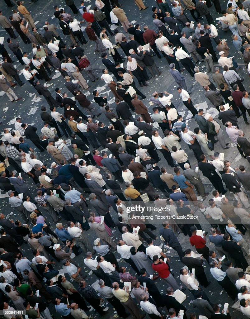 1960s AERIAL SHOT PEOPLE CROWD Stock Photo