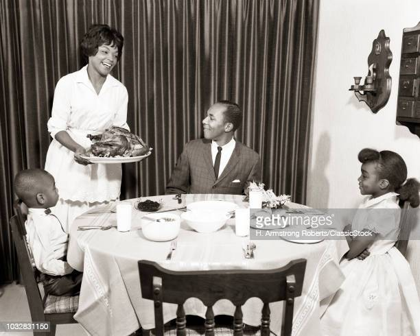 1960s AFRICAN AMERICAN FAMILY HOLIDAY TURKEY DINNER MOTHER FATHER 2 KIDS