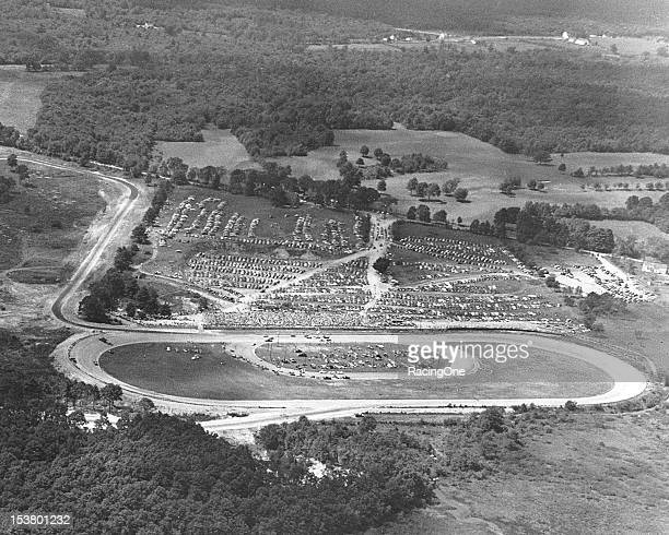 An aerial view of Thompson Speedway, the first track in New England to host a NASCAR Cup race. That event was staged on October 12 and was won by...