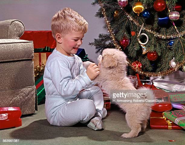 1960s BLONDE BOY WITH NEW PUPPY BY CHRSITMAS TREE