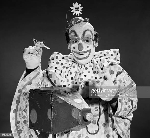1960s CLOWN IN POLKA-DOTTED...