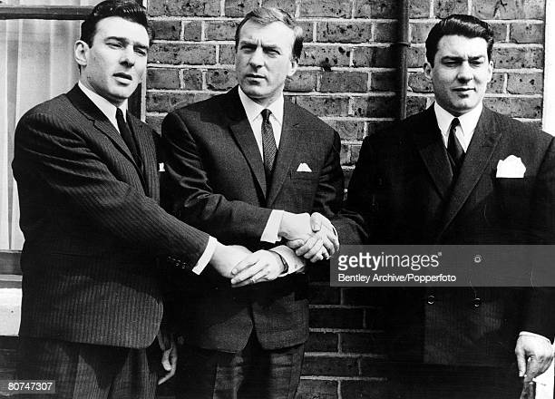 1960s East End London gangsters the Kray Brothers hold hands They are from left to right Ronnie Charlie and Reggie