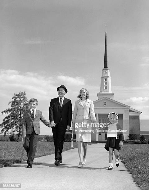 1960s FAMILY WALKING FROM...