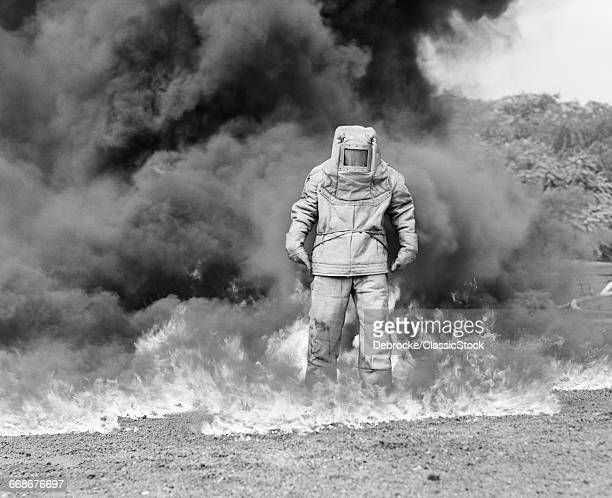 1960s FIREMAN IN ASBESTOS...