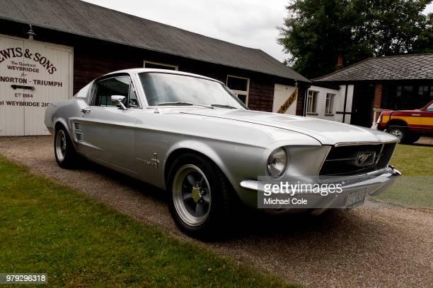 1960s Ford Mustang on display at Brooklands Racing Circuit on June 16 2018 in Weybridge England