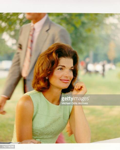 Former First Lady Jacqueline Kennedy enjoys herself at a picnic circa the 1960s