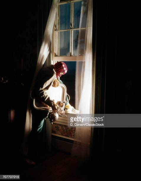 1960s HOUSE BREAKING ROBBER WEARING SKI MASK STEALING SILVER TEA SERVICE GOING OUT WINDOW