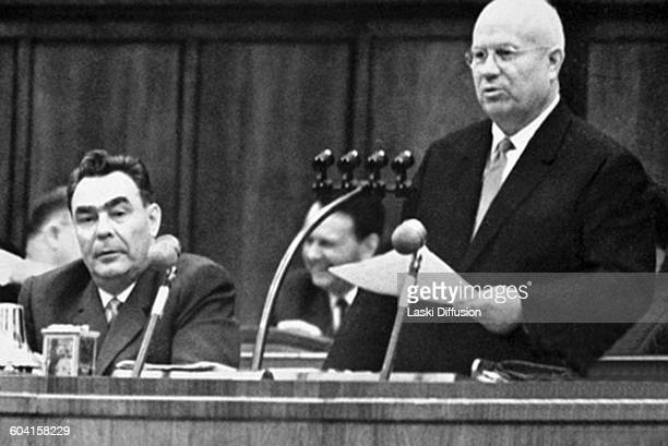 Leader of the Soviet Union Nikita Khrushchev and Leonid Brezhnev in Moscow USSR in the 1960s
