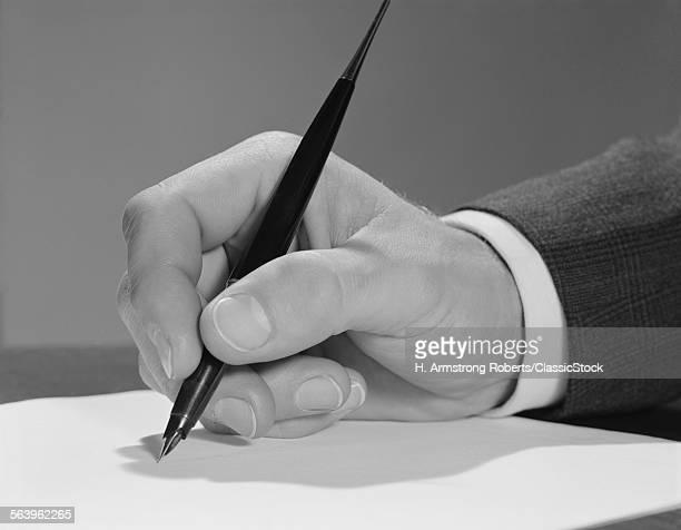 1960s MALE HAND WRITING...