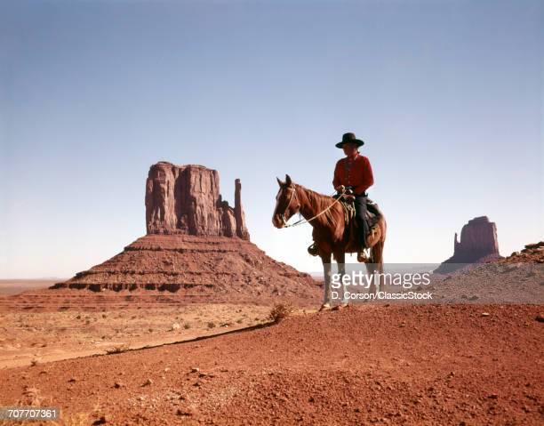 1960s NAVAJOAN ON HORSE...