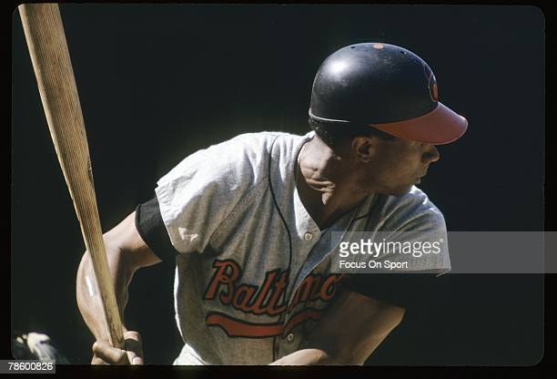 Outfielder Frank Robinson of the Baltimore Orioles at the plate ready to hit during a circa late 1960s Major League Baseball game Robinson played for...
