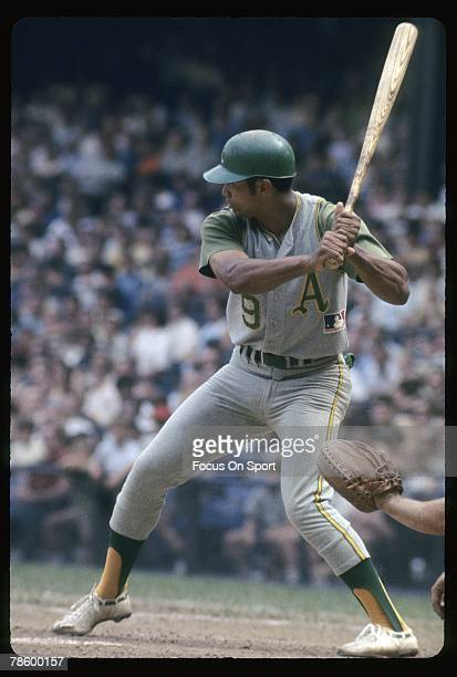 Outfielder Reggie Jackson of the Kansas City Athletics/Oakland Athletics stands at the plate ready to hit during a circa late 1960s Major League...