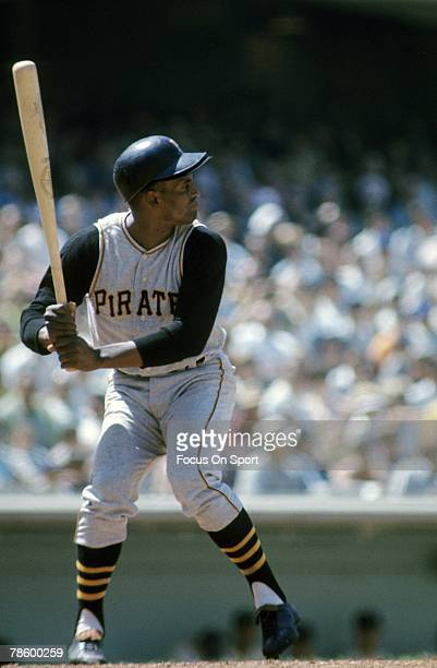 Outfielder Roberto Clemente of Pittsburgh Pirates stands at the plate ready to hit during a MLB baseball game circa early 1960s Clemente played for...