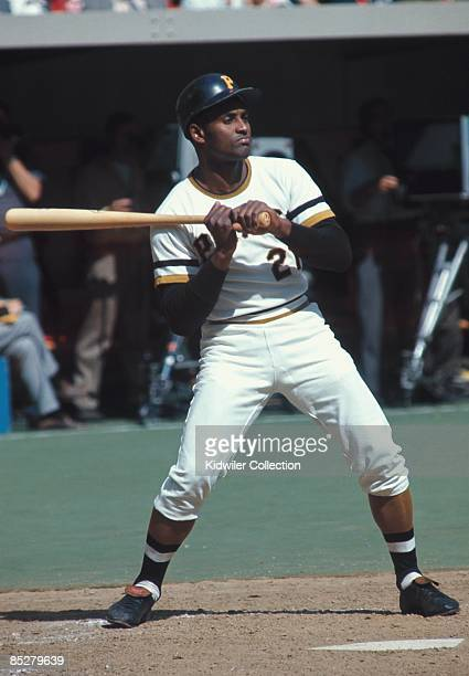 Outfielder Roberto Clemente of the Pittsburgh Pirates takes a pitch during a game in 1972 at Three Rivers Stadium in Pittsburgh Pennsylvania