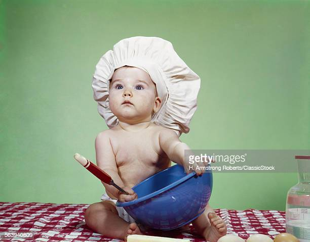 1960s SERIOUS BABY IN CHEF...