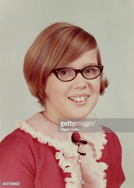 1960s Studio Portrait of a Young Girl With Spectacles