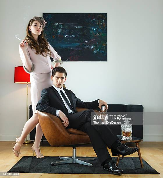 1960s style retro couple - stereotypically middle class stock pictures, royalty-free photos & images
