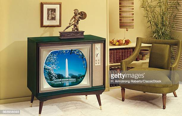 1960s TV AND CHAIR IN LIVING ROOM