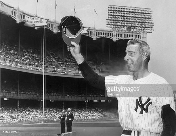 """New york, NY- Voted the greatest living ballplayer, Joe DiMaggio always gets the biggest ovation on his return to Yankee Stadium for the annual """"Old..."""