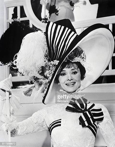 """Audrey Hepburn, closeup, as she appears in costume in the film """"My Fair Lady."""""""