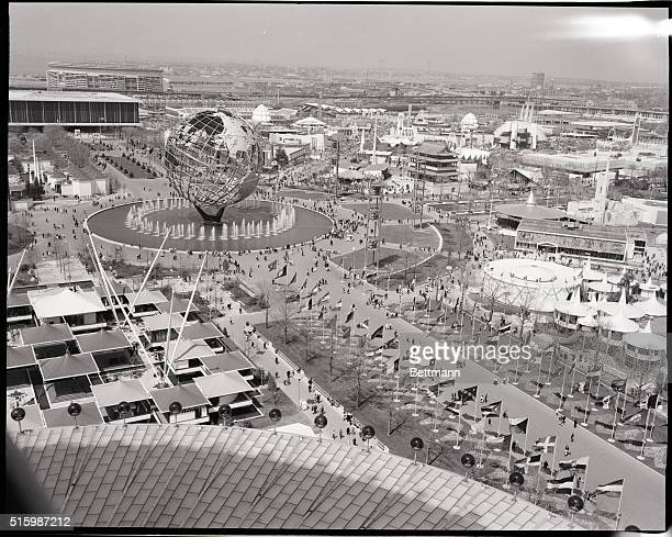 Overhead view of the 1964 World's Fair showing the unisphere and surrounding pavilions