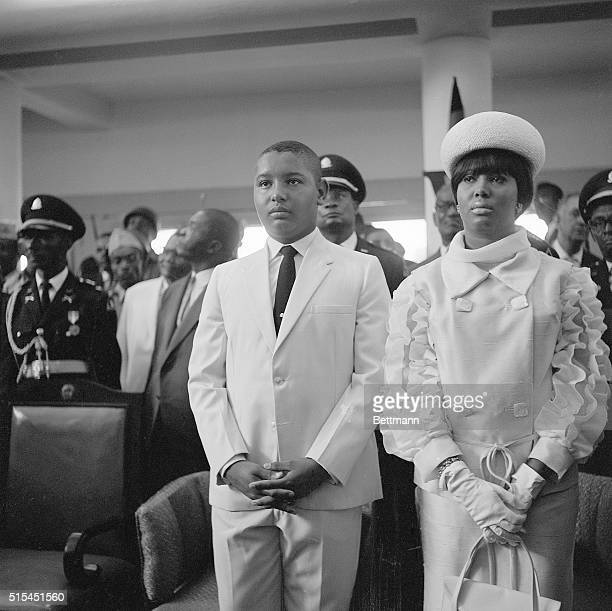 """Port-au-Prince, Haiti-Jean Claude Duvalier with his sister, Nicole, at the the inauguration of their father, Francois """"Papa Doc"""" Duvalier as..."""