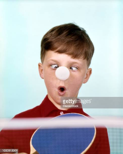 1970s 1960s FUNNY CROSS-EYED BOY RED SHIRT PING PONG BALL STUCK ON NOSE HUMOR