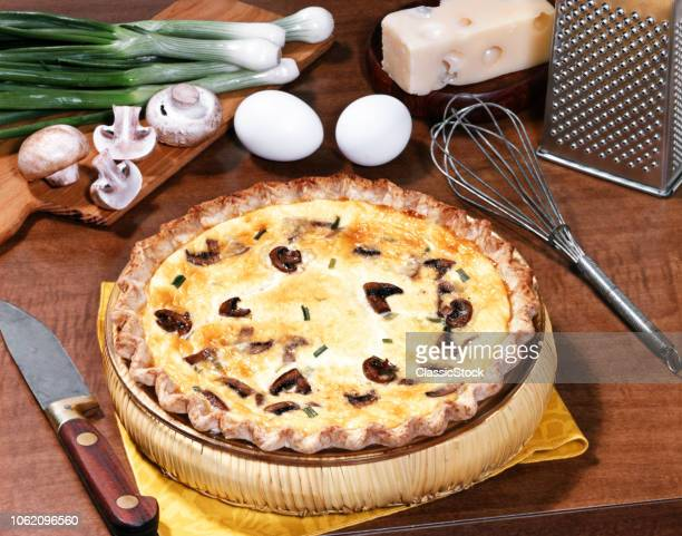 1970s 1980s MUSHROOM ONION AND CHEESE QUICHE WITH INGREDIENTS