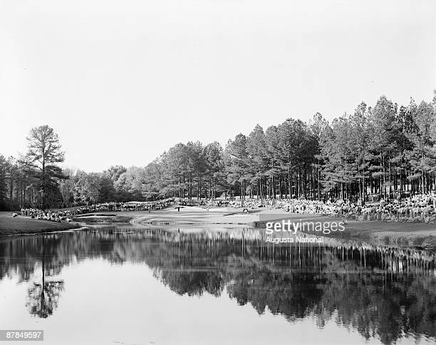 A gallery on the 16th hole during a 1970s Masters Tournament at Augusta National Golf Club in Augusta Georgia