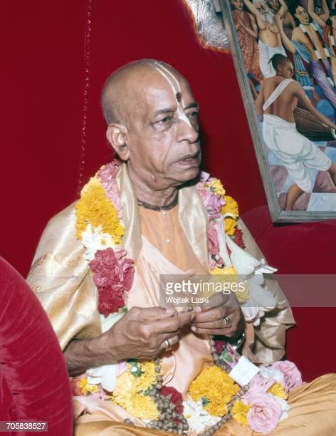 A meeting of followers of the hare krishna religious organisation a section of hinduism Pictured His Divine Grace A C Bhaktivedanta Swami Prabhupada...
