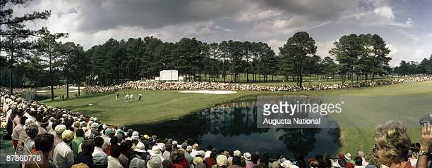 A panoramic shot of the 15th hole during a 1970s Masters Tournament at Augusta National Golf Club in Augusta Georgia