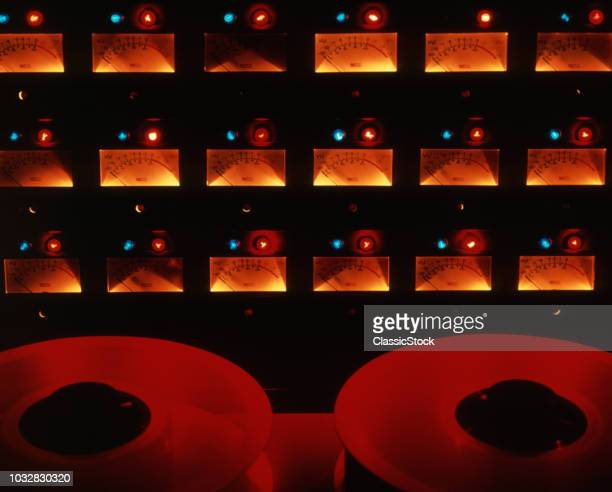 1970s AUDIO CONTROL CONSOLE DIALS TAPE SPOOLS RECORDING STUDIO MUSIC EQUIPMENT