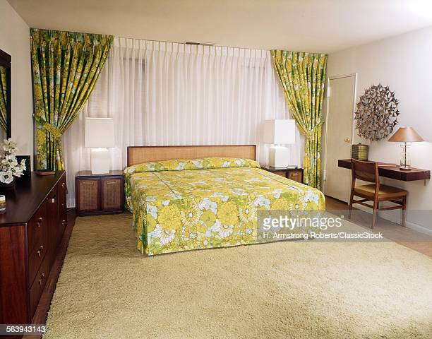 1970s BEDROOM WITH GREEN...