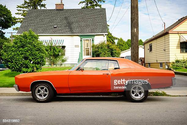 1970s chevrolet monte carlo side view - 1970s muscle cars stock pictures, royalty-free photos & images