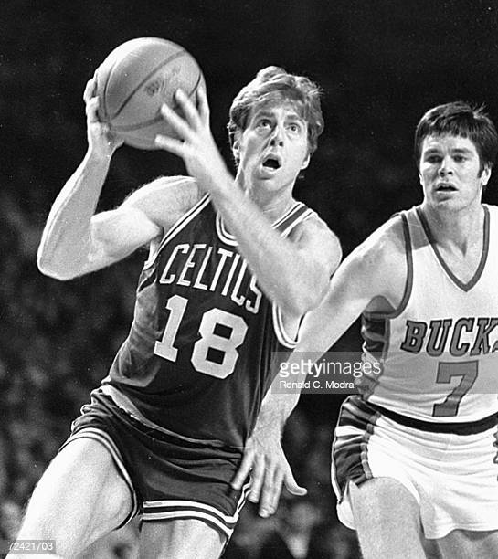 Dave Cowens of the Boston Celtics shoots the ball against the Milwaukee Bucks in a game in the 1970s in Milwaukee Wisconsin