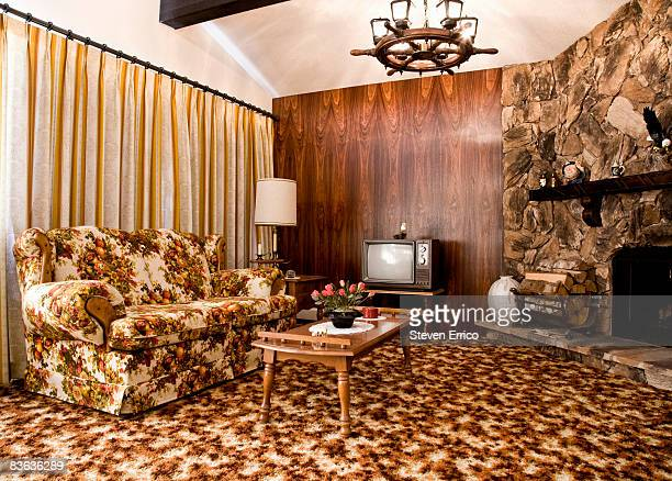 1970s era living room - carpet decor stock photos and pictures