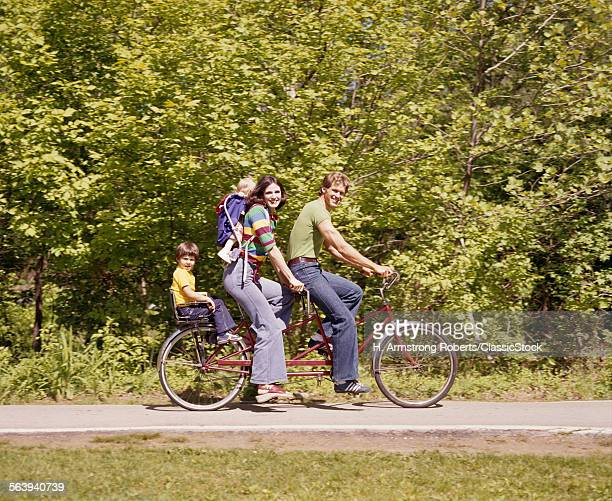 1970s FAMILY ON TANDEM...