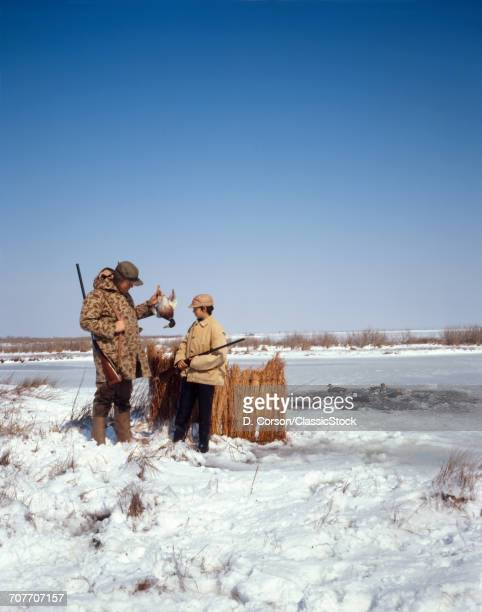 """""""1970s FATHER AND SON DUCK HUNTING IN WINTER SNOW DEEP CREEK, VA """""""