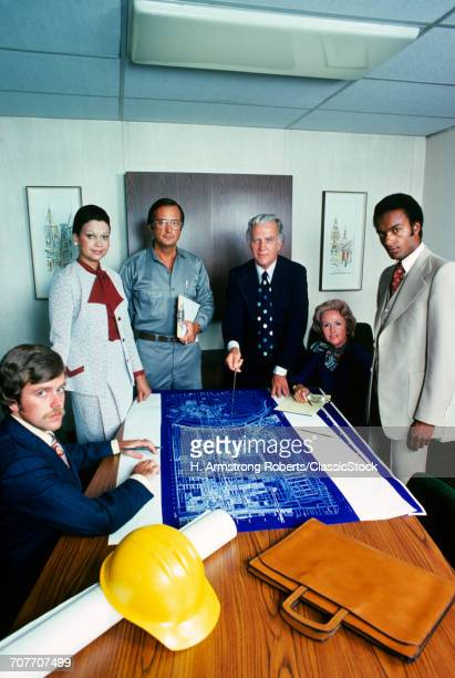 1970s GROUP OF 6 MEN AND...