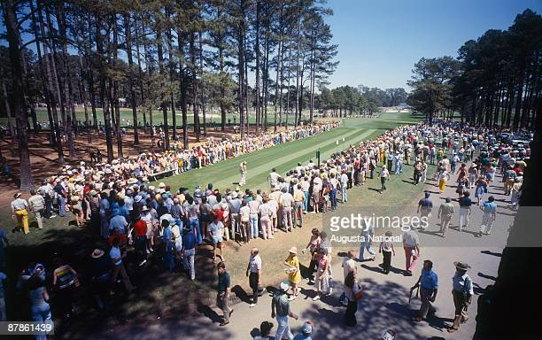 Jack Nicklaus tees off on the seventh hole during a 1970s Masters Tournament at Augusta National Golf Club in April of the 1970s in Augusta Georgia