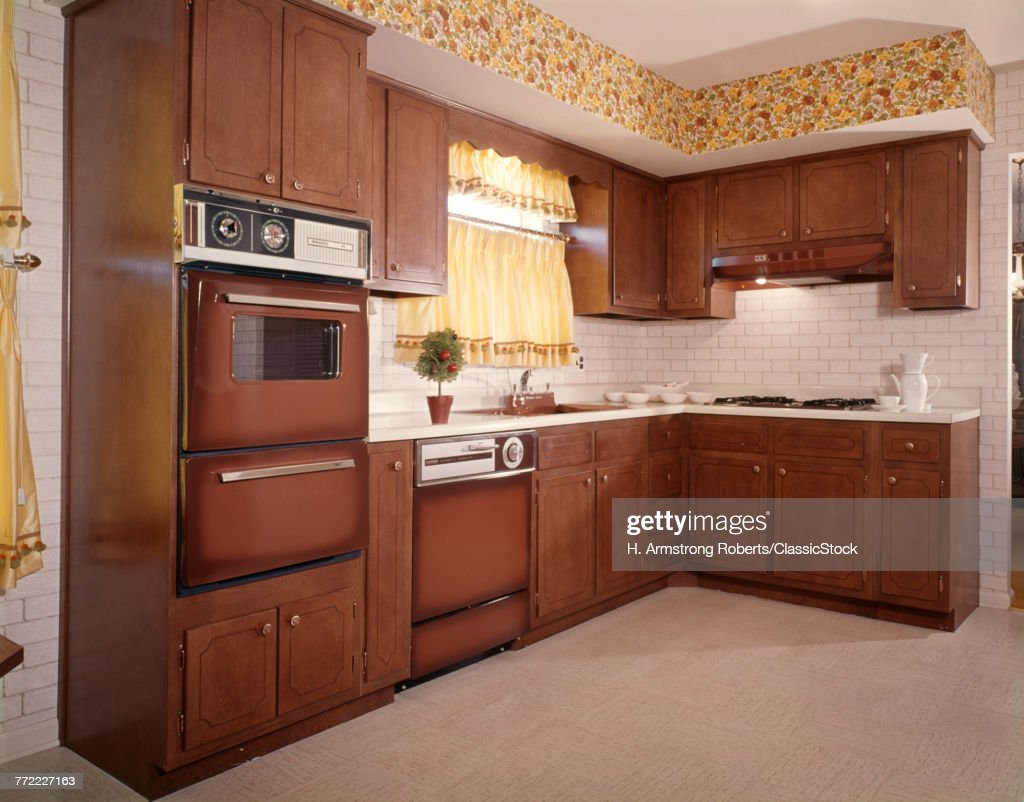 1970s Kitchen Interior Brown Cabinets Appliances Yellow