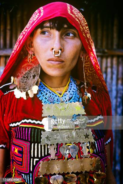 1970s Kuna Indian Woman Wearing Mola Fabric Blouse Gold Ornamental Jewelry Beads Nose Ring Guna Yala Province Northeast Panama