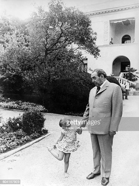 Leader of the Soviet Union Leonid Brezhnev with his granddaughter USSR 1970s